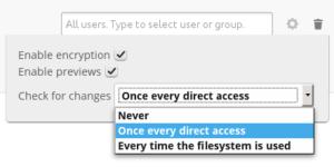 Control encryption on external storage