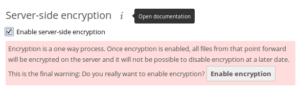 Enabled server-side encryption