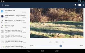 Tablet interface playing video