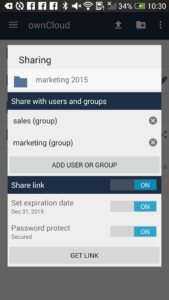 Android client showing share dialog