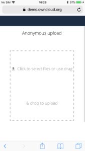 ownCloud anonymous upload with Safari