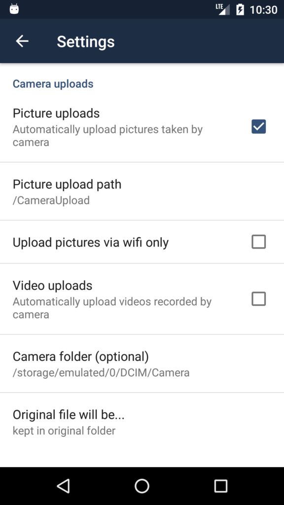 ownCloud Android app Camera Uploads