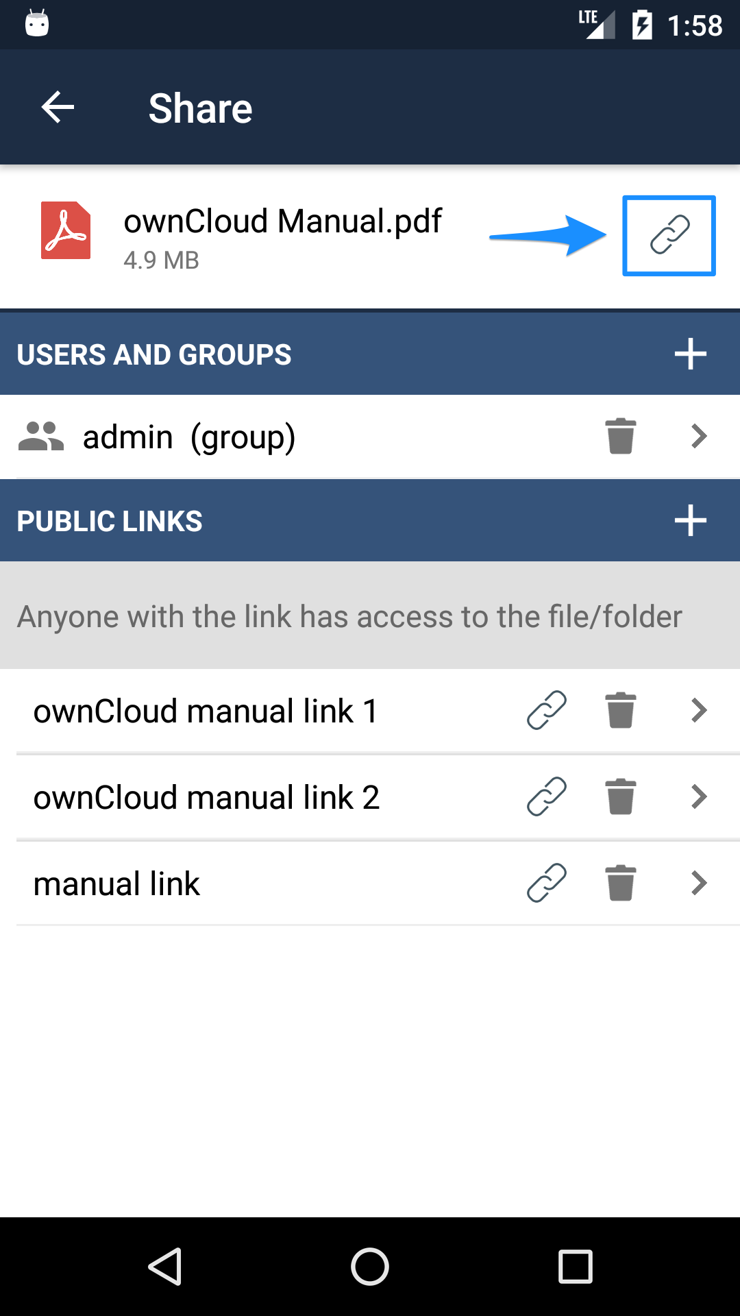 ownCloud Android app private links