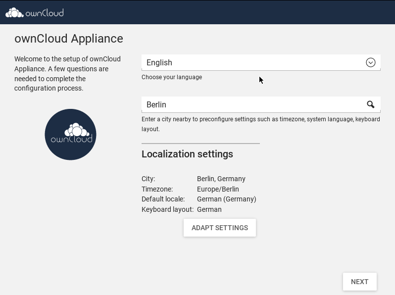 ownCloud appliance choose language