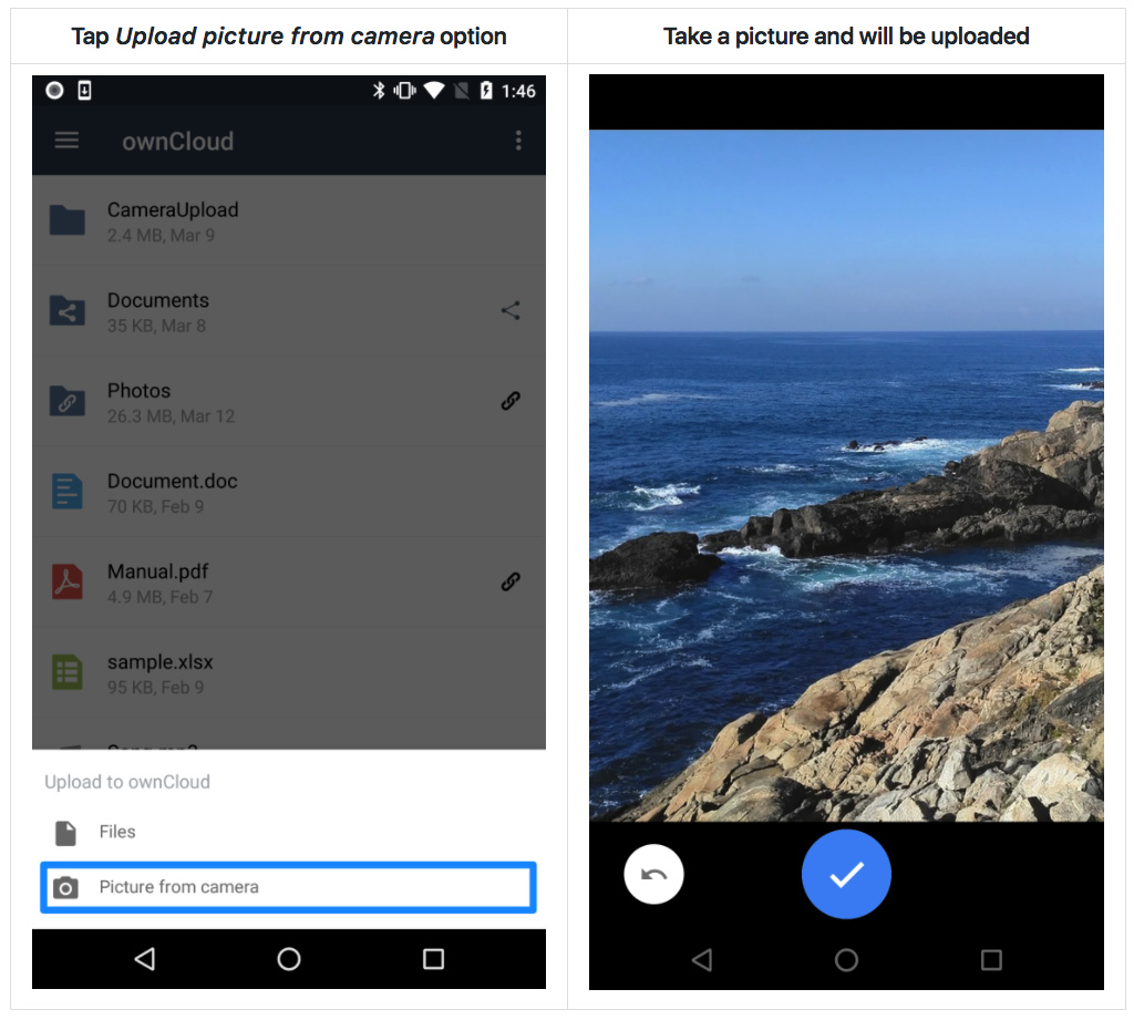 ownCloud Android app direct camera uploads