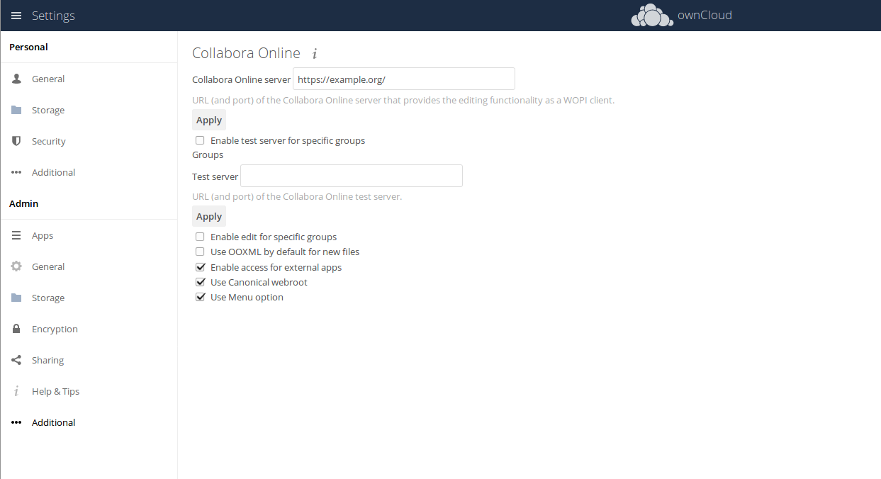 ownCloud Collabora Integration App Settings