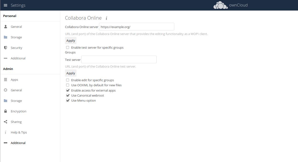 ownCloud Collabora Integration App Settings