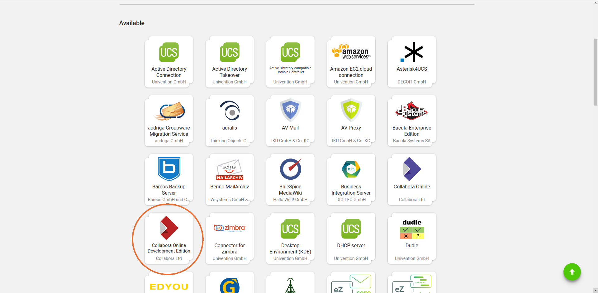 ownCloud Univention appliance app center collabora