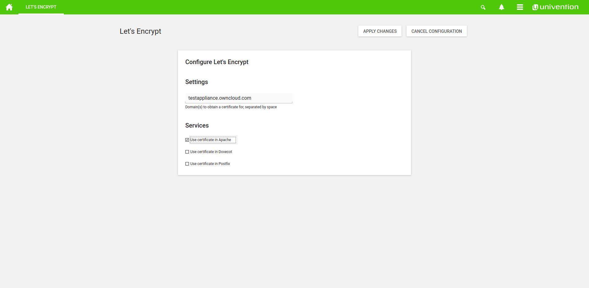 ownCloud Univention lets encrypt configuration