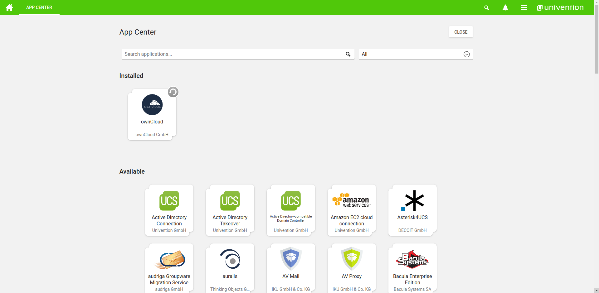 ownCloud univention appliance app center