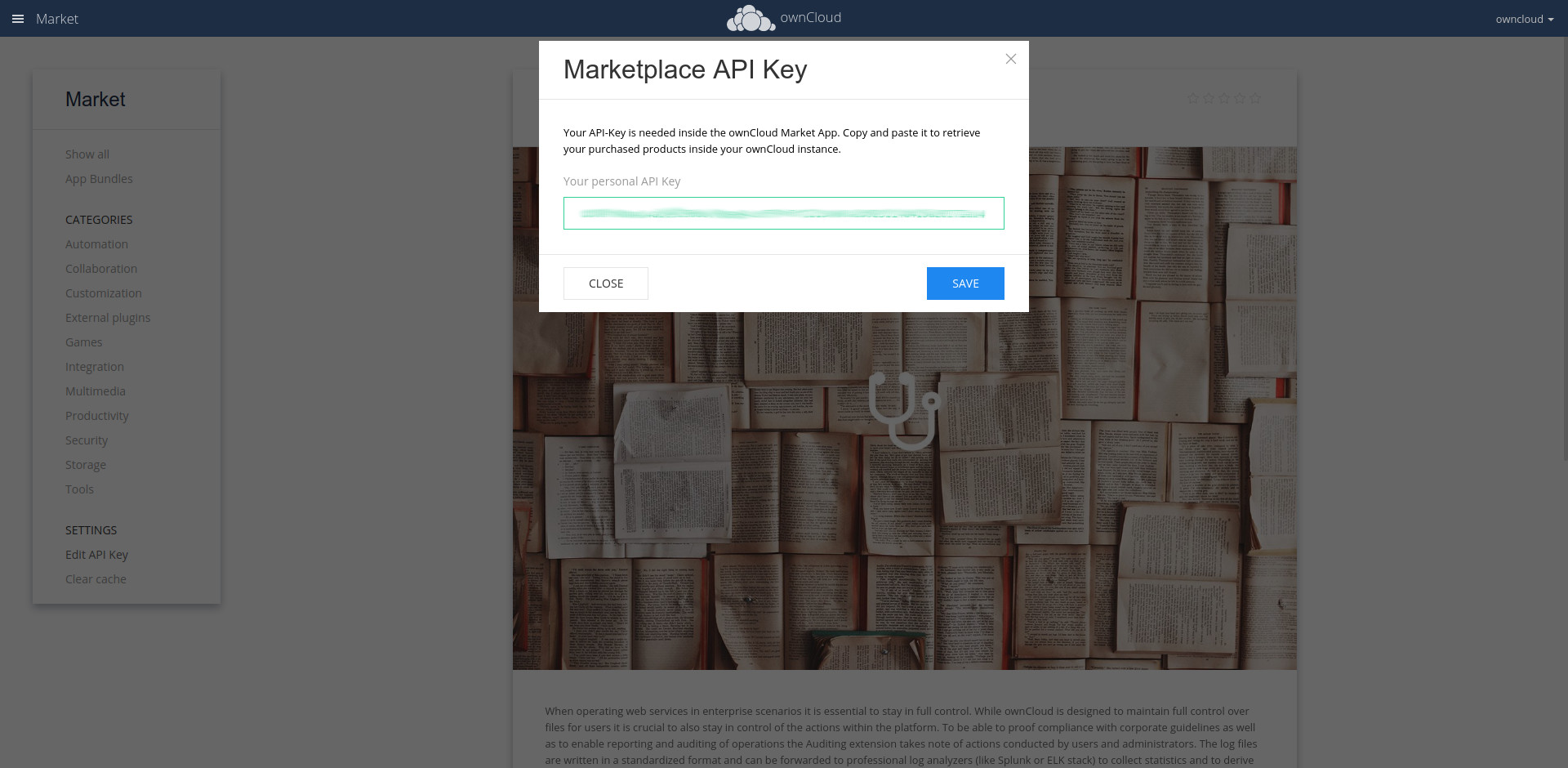 ownCloud add API key
