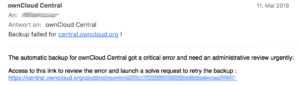 phising mail on ownCloud forum