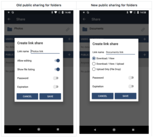 ownCloud android app sharing view more intuitive