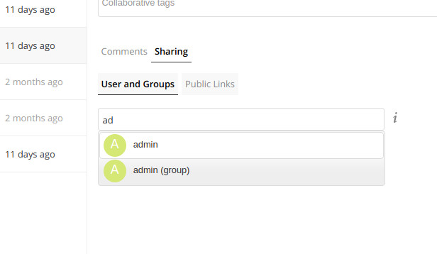 ownCloud sharing autocomplete