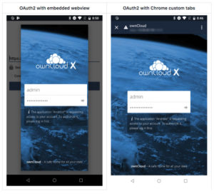 ownCloud android oauth2 custom chrome tabs