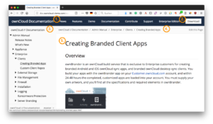ownCloud documentation migration to Antora - UI anotated