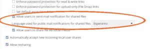 ownCloud default language mail notifications