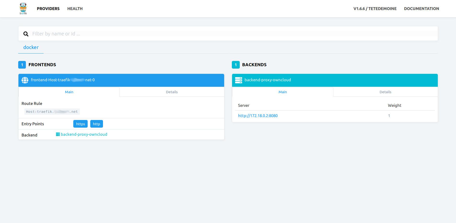 ownCloud docker traefik web interface