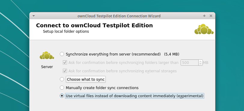 ownCloud enable virtual file system