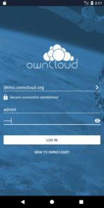 ownCloud Android 2.9.0 new login view