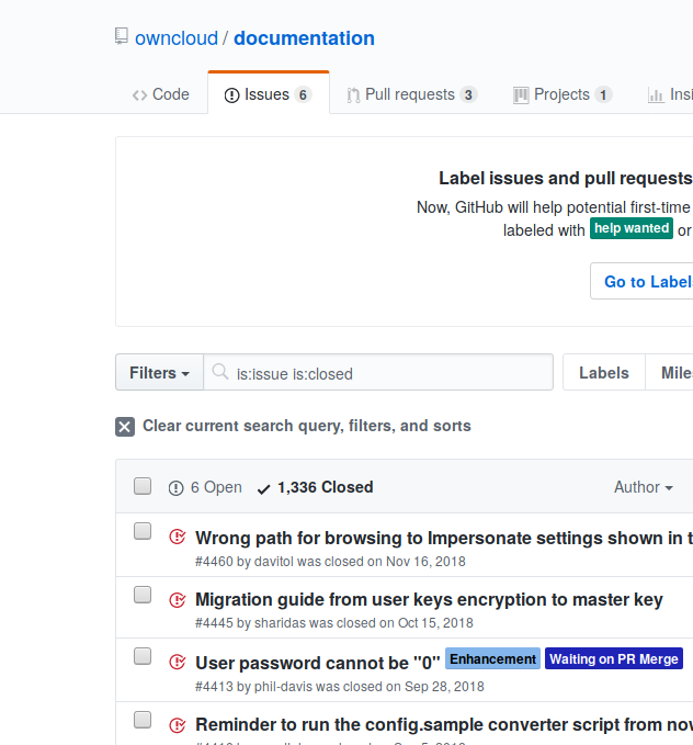 A screenshot showing that there are 1336 closed issues in the documentation repository.