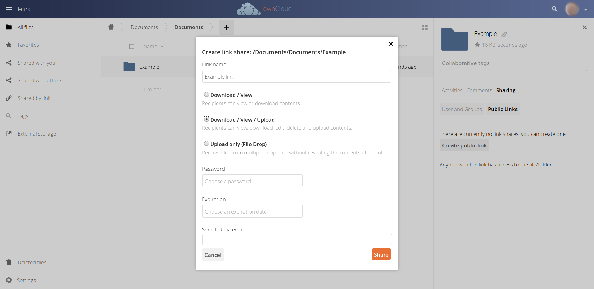ownCloud OnlyOffice Public link editing share