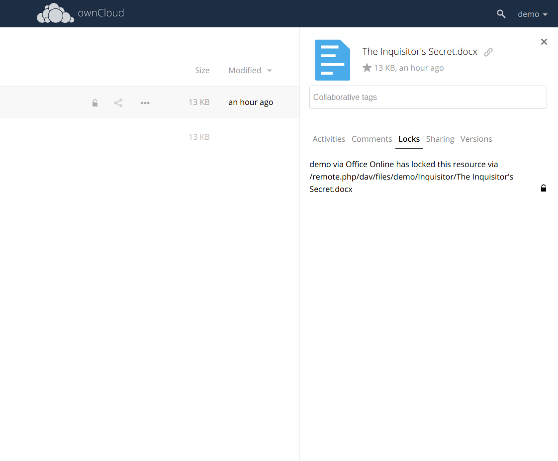 ownCloud Server Release Collaboration File Locking