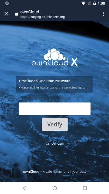ownCloud two-factor authentication generate one-time password