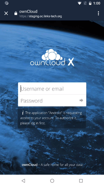 ownCloud two-factor authentication login username password
