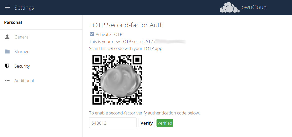 ownCloud two factor authentication qr code verified