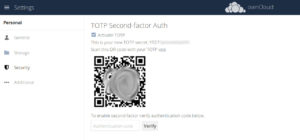 ownCloud two-factor authentication scan qr code