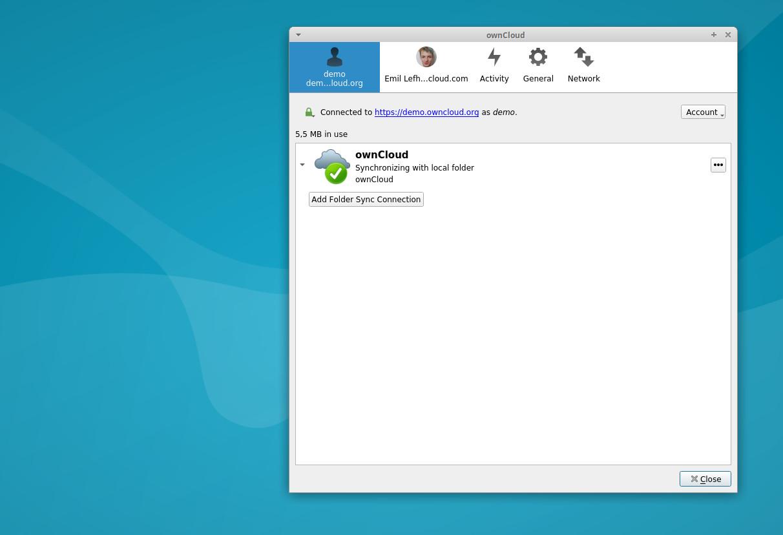 ownCloud add folder sync connection