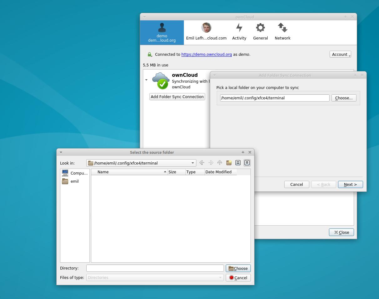 ownCloud choose local folder sync connection desktop client