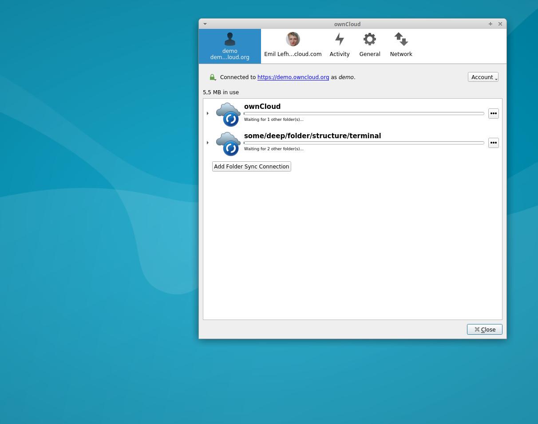 ownCloud folder sync connection wait desktop client