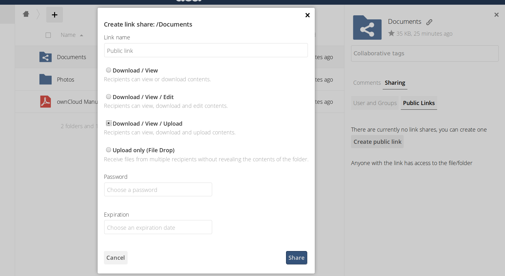 ownCloud server 10.2 download view upload