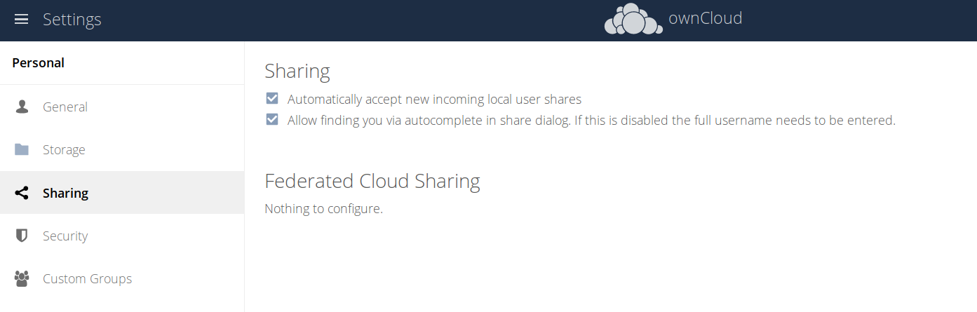 ownCloud server 10.2 new privacy settings