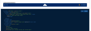 The ownCloud navigation bar, next to the code which created it.