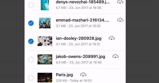 ownCloud iOS app Files multi select
