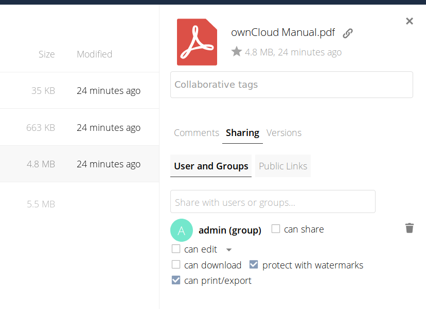 ownCloud secure view advanced sharing permissions