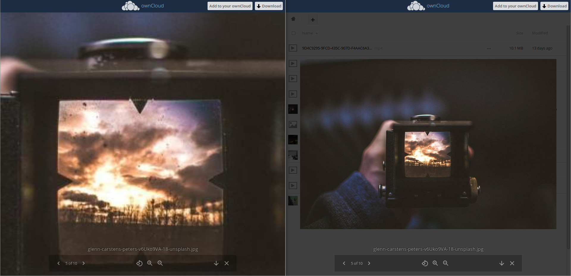 ownCloud-media viewer zoom side by side