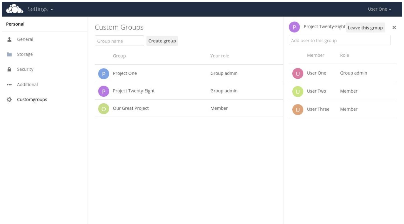 ownCloud Custom Groups
