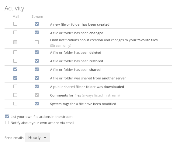 ownCloud Activity settings