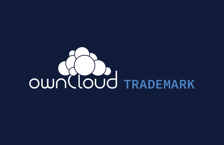 ownCloud trademark logo white on blue backgroud