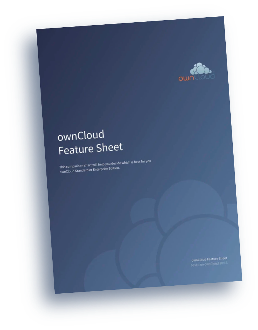 ownCloud product feature sheet