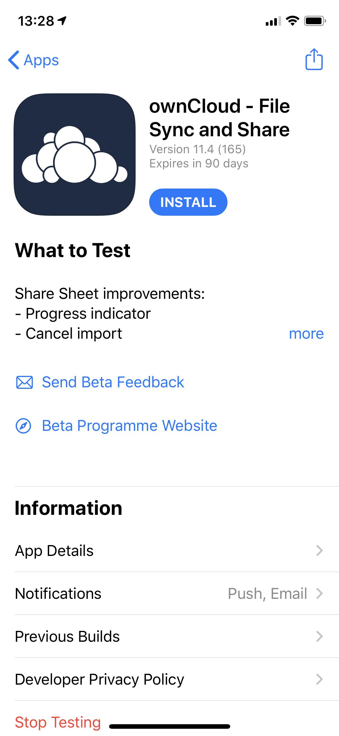ownCloud Testflight on iOS