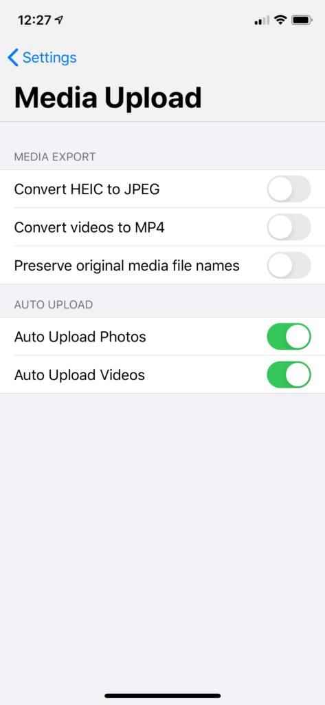 Specify different upload folders for auto-uploading photos and videos