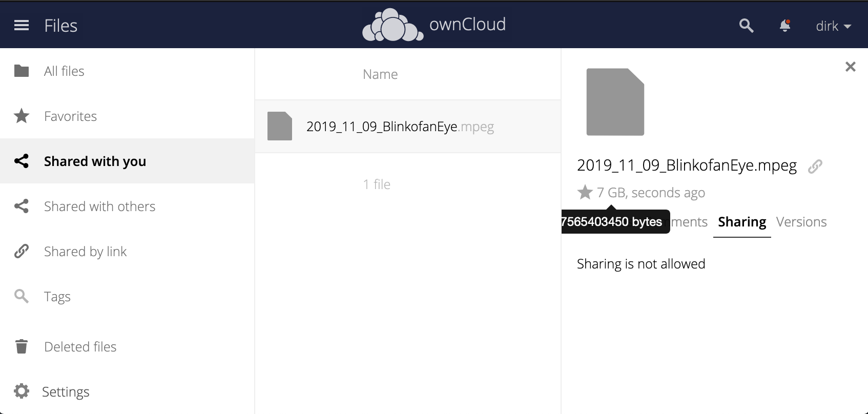 Screenshot illustrating ownCloud's unlimited file size feature