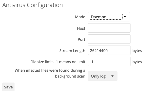 Screenshot of the Antivirus configuration for ClamAV Daemon Mode in ownCloud