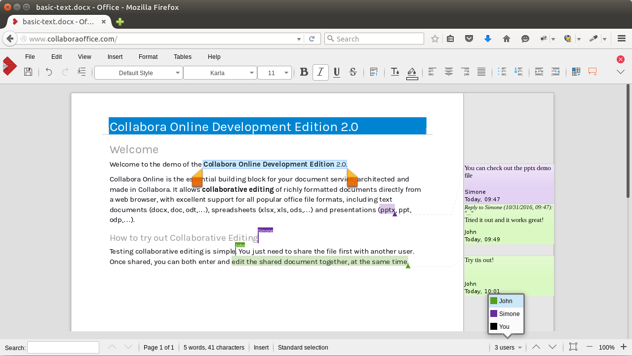 Collabora Online editor within ownCloud