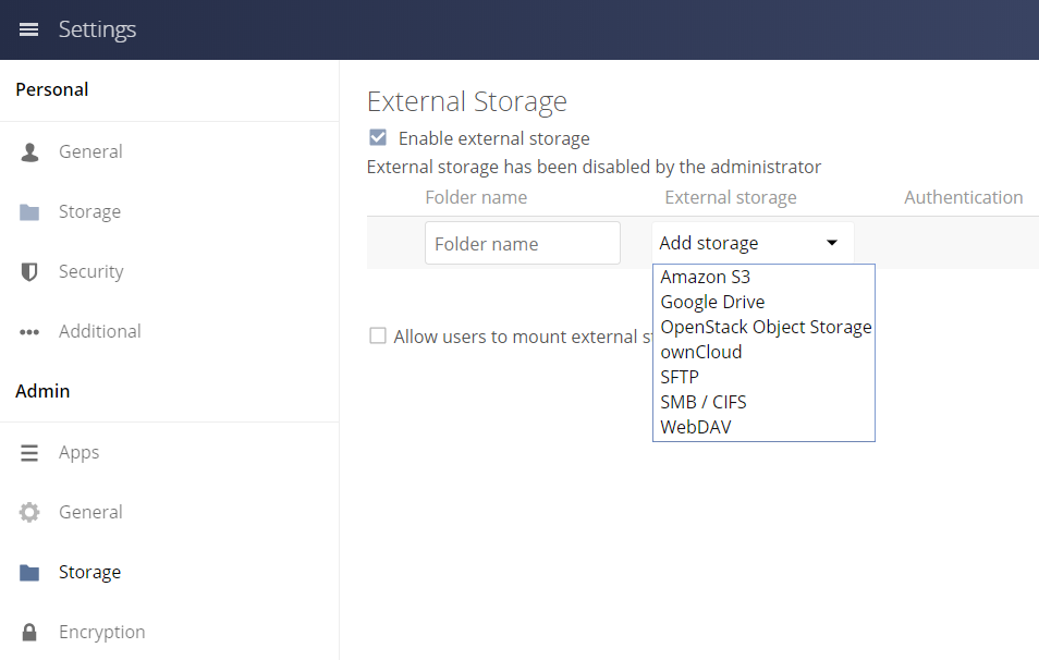 Screenshot of the admin area to enable external storage